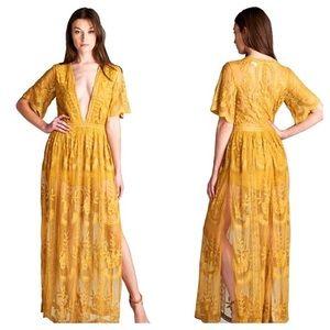Vici Wild honey Yellow lace romper dress overlay